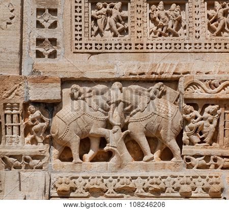 Elephants As A Details Of Massive Stone Bas-relief Of Temple, India