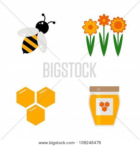 Honey icons set.