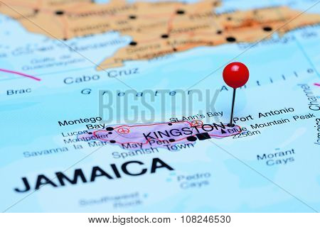 Port Antonio pinned on a map of America