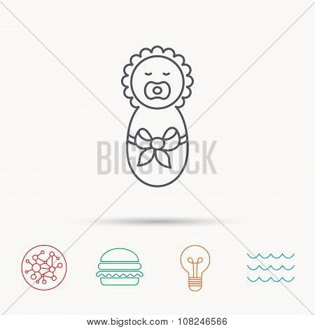 Newborn baby icon. Toddler with bow sign.