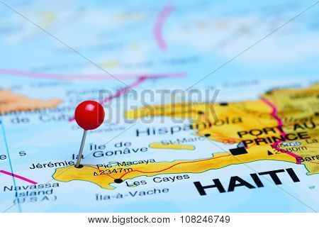 Jeremie pinned on a map of America