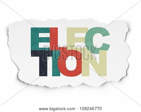 Politics concept: Election on Torn Paper background