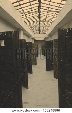 Cell doors in fortress Terezin - Czech Republic