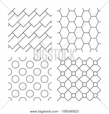 Hex, diagonal rectangles and circles textures.