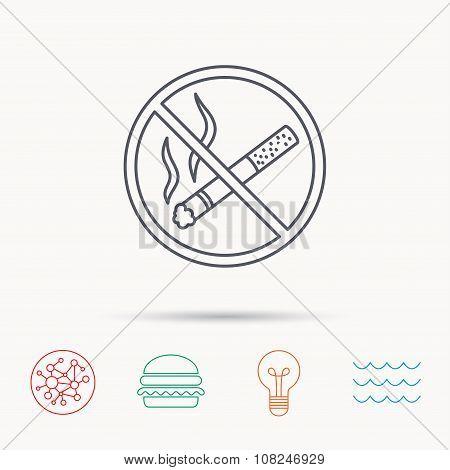 No smoking icon. Stop smoke sign.