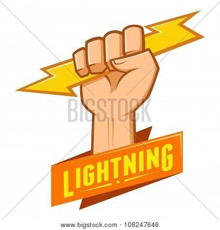 Symbol Of Hand Grasping Lightning