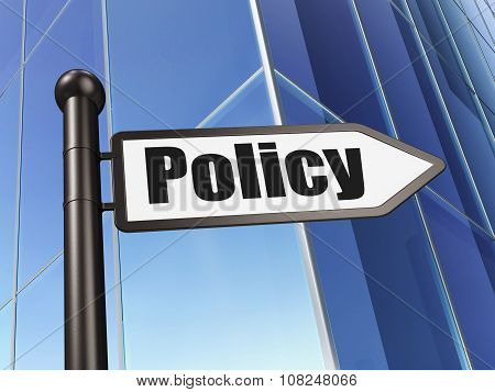 Insurance concept: sign Policy on Building background