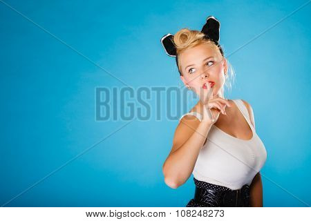 Pin Up Style, Retro Girl With Silence Sign.
