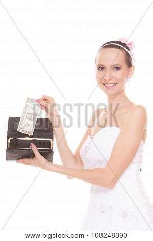 Woman Bride With One Dollar. Wedding Expenses.