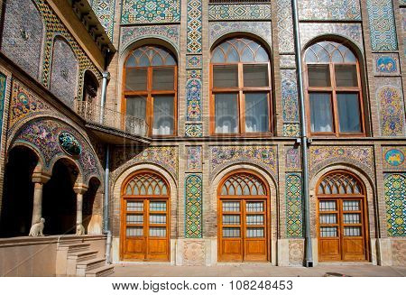 Tiled Walls With Persian Patterns Of The Royal Palace Golestan In Iran