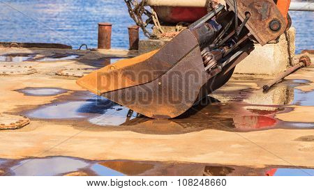 Excavator Working At Sea.