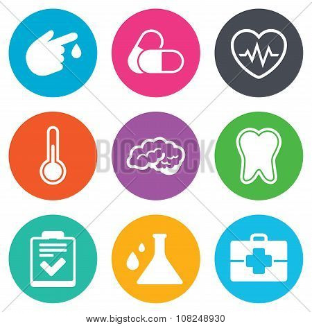 Medicine, healthcare and diagnosis icons.