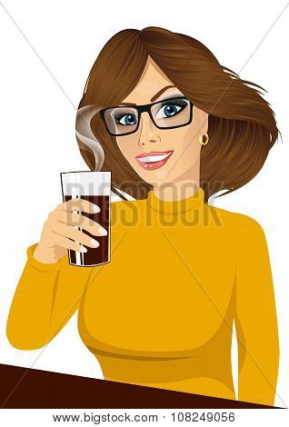 young girl holding drink glass