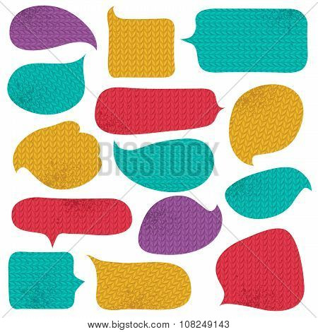 Set Of Special Colour  Bubble With Knitwear Texture, Vector