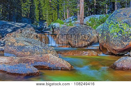 Water Streams Shot In Yosemite National Park In California. Long Shutter Speed Used.hdr Toning.