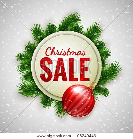 Christmas Sale Advertising White Banner Decorated With Fir Branches And Red Bauble On Show Backgroun