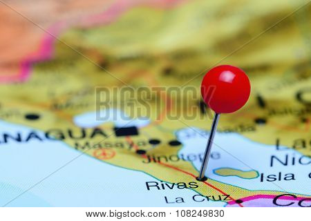 Rivas pinned on a map of America