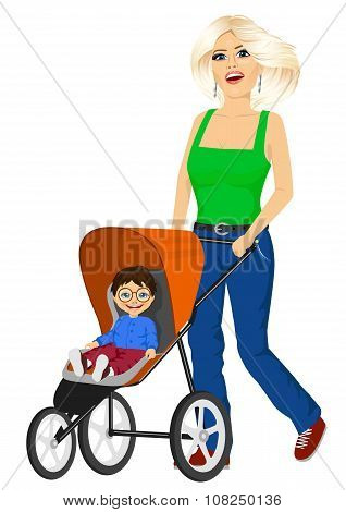 beautiful single mather pushing stroller