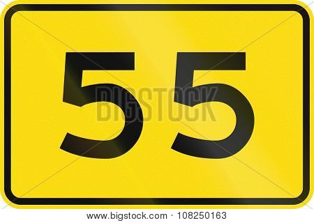 New Zealand Road Sign - Advisory Speed Of 55 Kmh