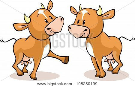 Cute Brown Cow Standing Isolated - Vector Illustration
