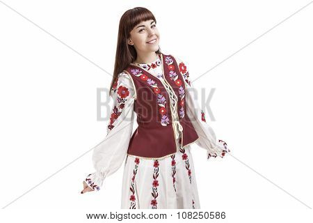 Happy Smiling Brunette Woman Posing In Unique Hand-made Flowery National Costume