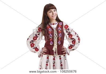 Caucasian Smiling Happy Brunette Woman Posing In National Flowery Hand-made Unique Dress.
