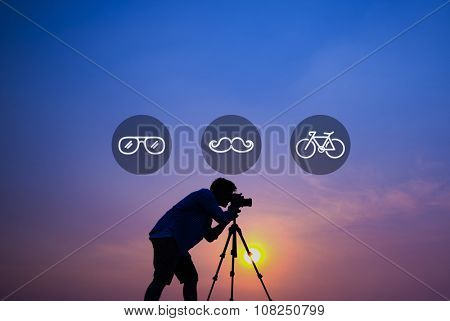 Photographer Taking Photo Sunset Outdoors Concept