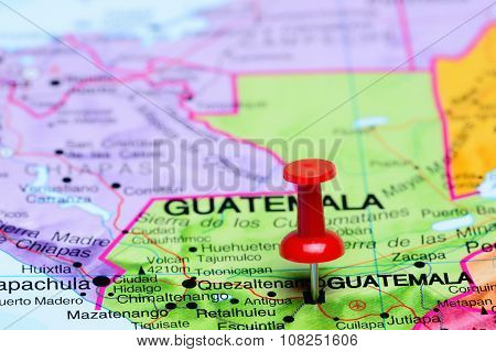 Guatemala pinned on a map of America