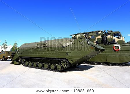 MOSCOW REGION  -   JUNE 17: Army floating transporter for crossing water obstacles -  on June 17, 201515 in Moscow region
