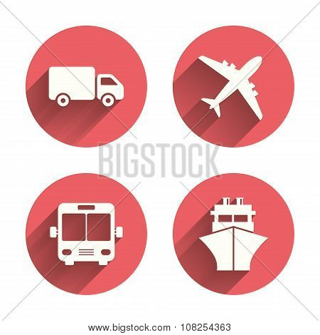 Transport icons. Truck, Airplane, Bus and Ship.