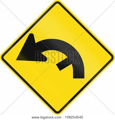 New Zealand Road Sign - Curve Between 90 And 120 Degrees, To Left With Hidden Exit