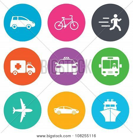 Transport icons. Car, bike, bus and taxi signs.