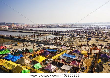 Aerial View Of Kumbh Mela Festival In Allahabad, India