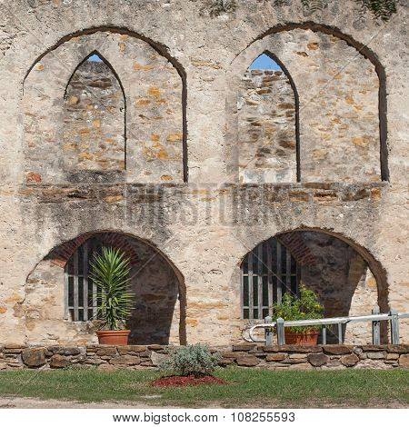 Arched Masonry Courtyard of the Historic Old West Spanish Mission San Jose National Park