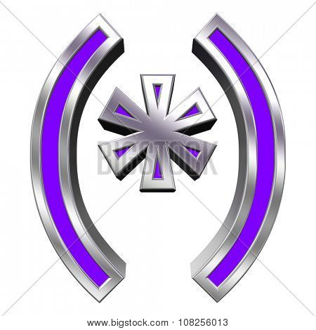 Parenthesis, asterisk from purple with chrome frame alphabet set, isolated on white. Computer generated 3D photo rendering.