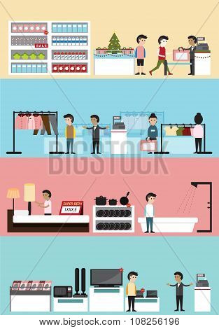 Flat Cartoon Department Store Mall Building Interior Design And Layout For Supermarket, Clothing Bou