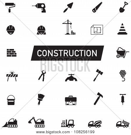 Silhouette Civil Engineering, Maintenance Labor, Excavator Transport And Construction Site Industry