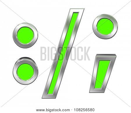 Colon, semicolon, period, comma sign from green with chrome frame alphabet set, isolated on white. Computer generated 3D photo rendering.