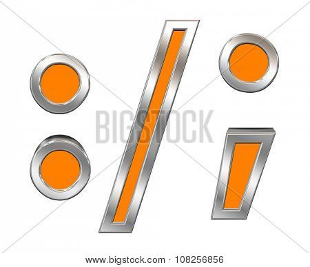 Colon, semicolon, period, comma sign from orange with chrome frame alphabet set, isolated on white. Computer generated 3D photo rendering.