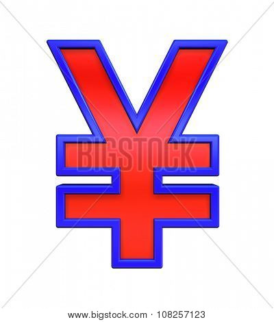 Yen sign from red glass with blue frame alphabet set, isolated on white. Computer generated 3D photo rendering.