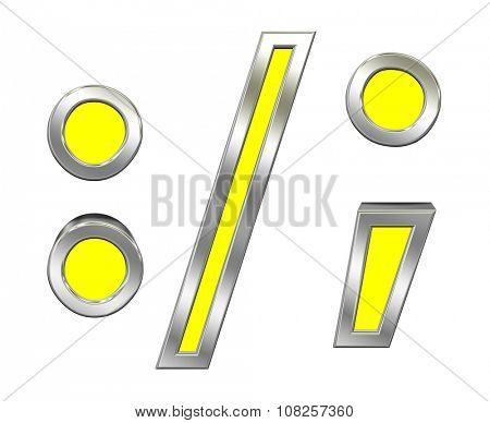 Colon, semicolon, period, comma sign from yellow with chrome frame alphabet set, isolated on white. Computer generated 3D photo rendering.