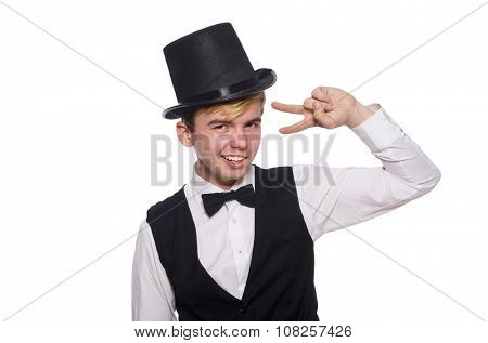 Young man in black classic vest and hat isolated on white
