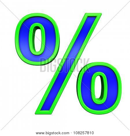 Percent sign from blue glass with green frame alphabet set, isolated on white. Computer generated 3D photo rendering.
