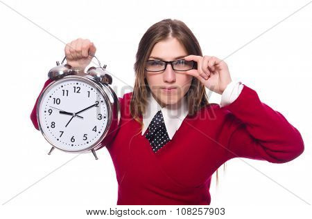 Office worker holding alarm clock isolated on white