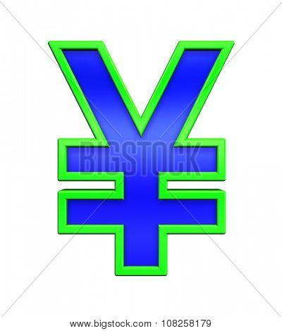 Yen sign from blue glass with green frame alphabet set, isolated on white. Computer generated 3D photo rendering.