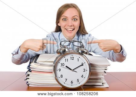 Office employee showing alarm clock isolated on white
