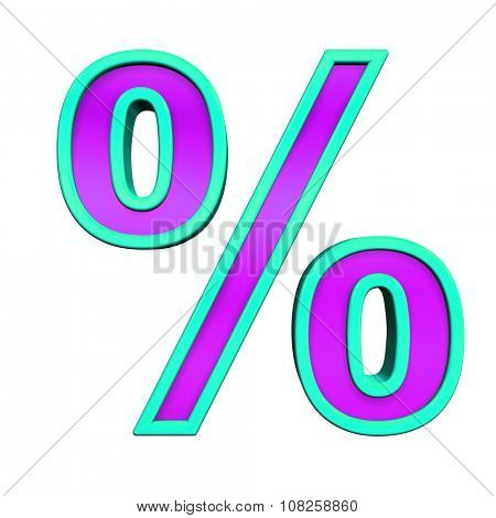Percent sign from purple glass with blue frame alphabet set, isolated on white. Computer generated 3D photo rendering.