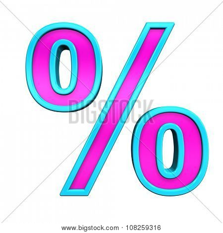 Percent sign from pink glass with blue frame alphabet set, isolated on white. Computer generated 3D photo rendering.