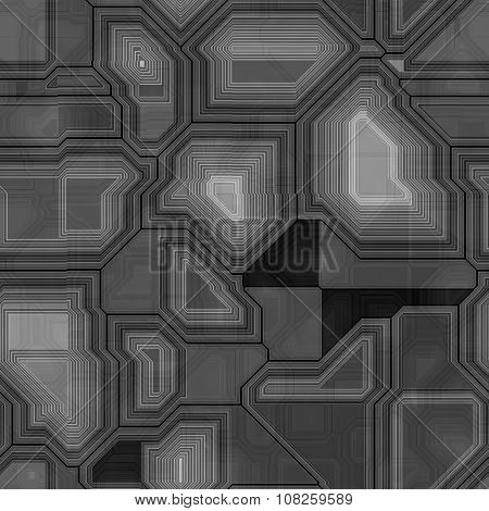 Seamless Greyscale Pattern Inspired By Computer Circuit
