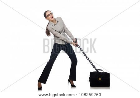 Young businesswoman in funny concept on white